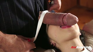 Lovely step daughter Cadey Mercury asks her step daddy to was her back