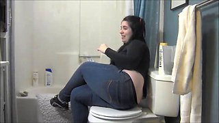 Fat black-haired cunt sitting on the toilet farting like crazy