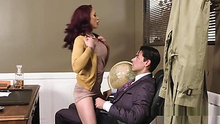 Busty Redhead Bangs In Pantyhose In Office