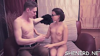 Nerd in glasses gives her cum-hole to get it rammed