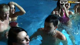 Young rapacious folks throw wild group sex orgy in pool