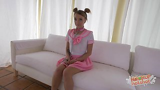 Petite tiny brunette gets spanked and she does love it