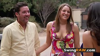 Amazing swinger couple arrives to the mansion with great energy