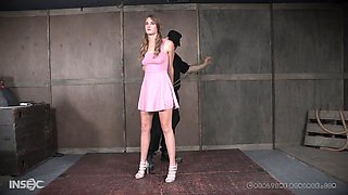 Blonde teen in a dress Ashley Lane abused with a rope around her neck