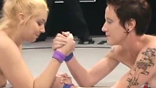 Blonde & Brunette Wrestling & Fucking Each Other Silly