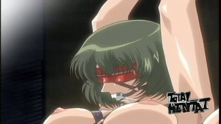 Green haired animated chick gets gagged and fucked from behind