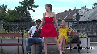 busty slave and her mistress in public