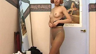 Redhead girl pokes her wet pussy with smooth dildo