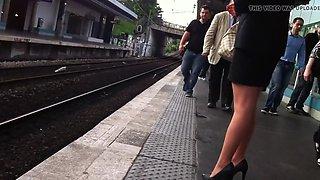 black jacket and black heels