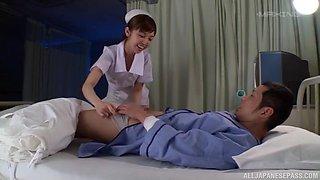 Cute nurse Mizutori Fumino seduces her patient and gets fucked