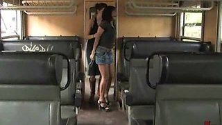 Hardcore Public Action At the Back Of A Bus With A Hot Brunette