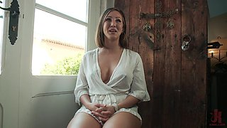 Betty Foxxx abused and tied up in a public humiliation scene