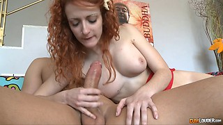 Redheaded babe with the best big titties ever gets banged