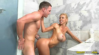 Big tits milf cheats on her hubby with their next door neighbor
