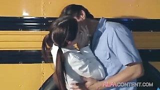 Horny schoolgirl gets hard fucked by bus driver