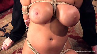 Awesome blonde MILF Alyssa Lynn tries out breast bondage and hard fuck