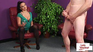 Cfnm british babe instructs sub guy to jerk