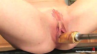 fucking machines fun in the kitchen with a hot redhead