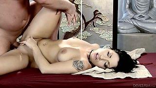 Awesome South Korean masseuse Rina Ellis rides strong boner cock on top