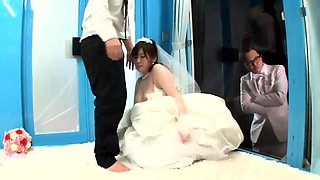 Cheating Asian bride with perky tits enjoys cuckold fucking
