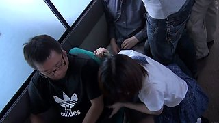Little Asian schoolgirl gets a blowbang in the bus