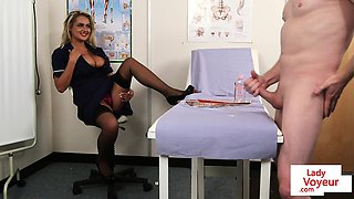 English voyeur nurse instructing guy to tug