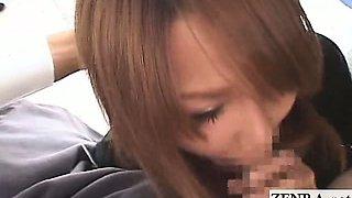 Subtitled Japanese AV stars blowjob interviews on bus