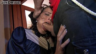 Stunning brunette chick forced to choke on a guy's swollen prick