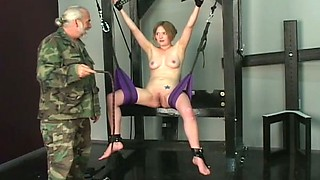 Cute babe is punished by old perverted dude