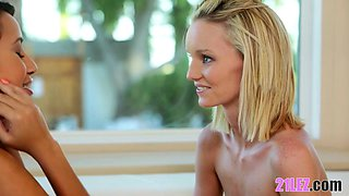 Cute teen lesbians Sammie Daniels and Marina Angel