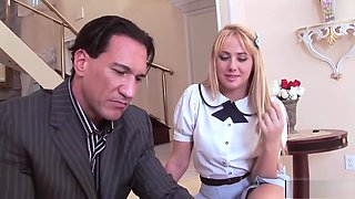 Blonde Schoolgirl Likes Her Stepfather's Boner