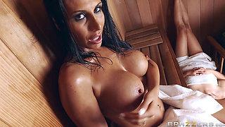 Mean MILF Makayla Cox fucks a forbidden cock in the sauna