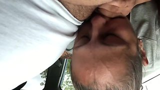 Fat guy getting head from a pro