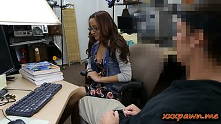 College girl with glasses pounded by pervert pawn man
