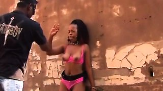 Rough BDSM and deepthroat with busty African slut