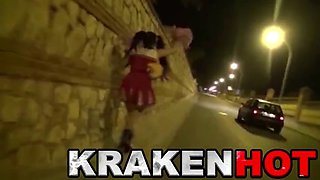 Krakenhot - Crazy girl in public sucking a dildo in the car