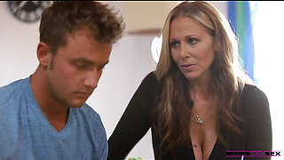 Busty blonde mom seduced her son s handsome friend and gave him an offer he could not refuse