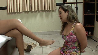 Shemale foot domination over submissive slave girl