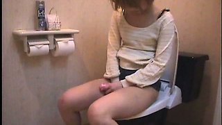 Solo Japanese Girl Dorm Toilet Onanism