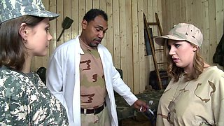 Soldier Tina Kay in an interracial group sex with a black doctor