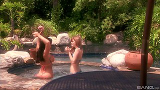 Jayden Jaymes and Faye Reagan strip and seduce each other in the pool