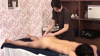 Subtitled CFNM Japanese milf masseuse taint massage
