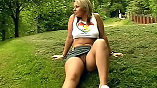 Beautiful Blonde Voyeur Gets Her Shaved Pussy Fingered Outdoors