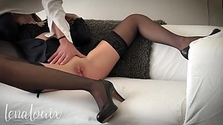 Young secretary gets her pussy fucked hard after sucking boss - LenaLouix