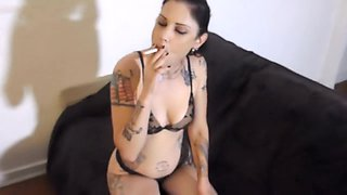 Smoking punk rock girl with dirty feet POV cock tease with Cadence and me!