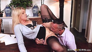 Blonde secretary gets busy with her boss in the office