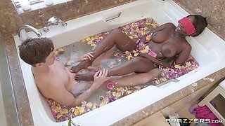 fucking his ebony stepmom in the bathtub
