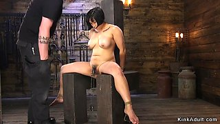 Hairy asian busty slave fucked in bondage