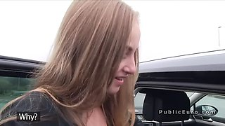 Twenty years old cutie got huge dick in car