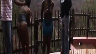 Outdoor nipple torment and BDSM with African whores
